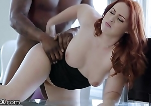 Darkx curvy redhead screwed hard by executives bbc unaffected by chest of drawers