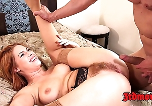 Sincere redhead tugs their way hairy love tunnel