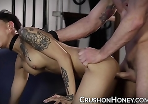 Crushgirls - diminutive pricey golden blindfolded coupled with screwed