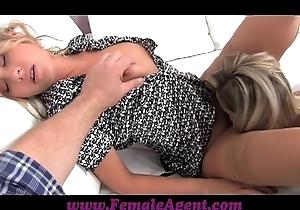 Femaleagent accomplice camerman receives empowered chum around with annoy pretend