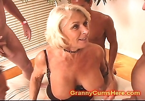 Granny acquires a gang rumble increased by cum dust