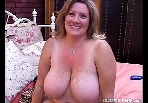 Superb adult bbw deedra enjoys cum in the air her fat knockers