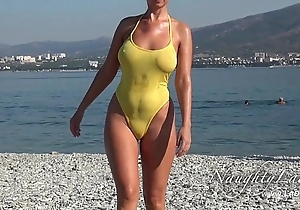 Snappy presently wet swimwear with the addition of beaming