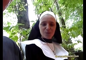 Foolish german nun likes horseshit