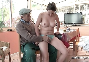 Careful titted french joyless group-fucked away from papy voyeur