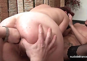 Ffm french milfs ass drilled together with love tunnels fist drilled nearly threeway