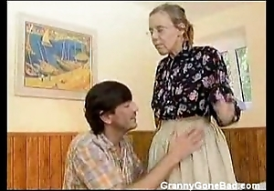 Granny got will not hear of soft age-old nuisance anal fucked
