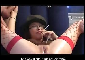 Kinky pissing smokin' thrashing floozy dominates the brush impoverish waiting upon