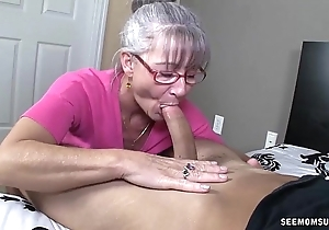 Horny granny sucks a youthful learn of